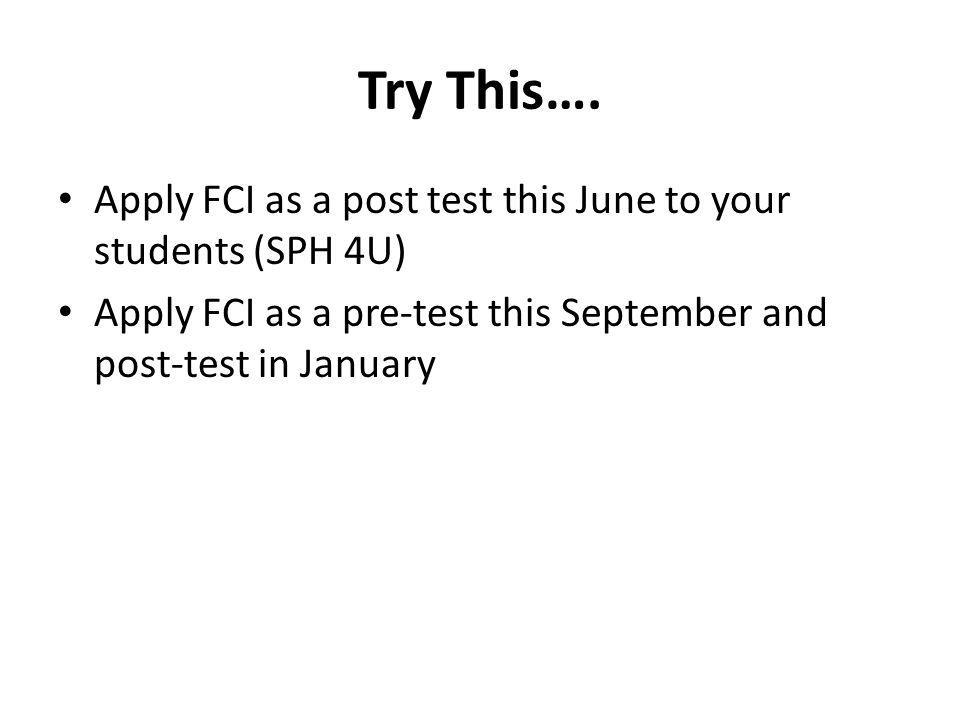 Try This…. Apply FCI as a post test this June to your students (SPH 4U) Apply FCI as a pre-test this September and post-test in January