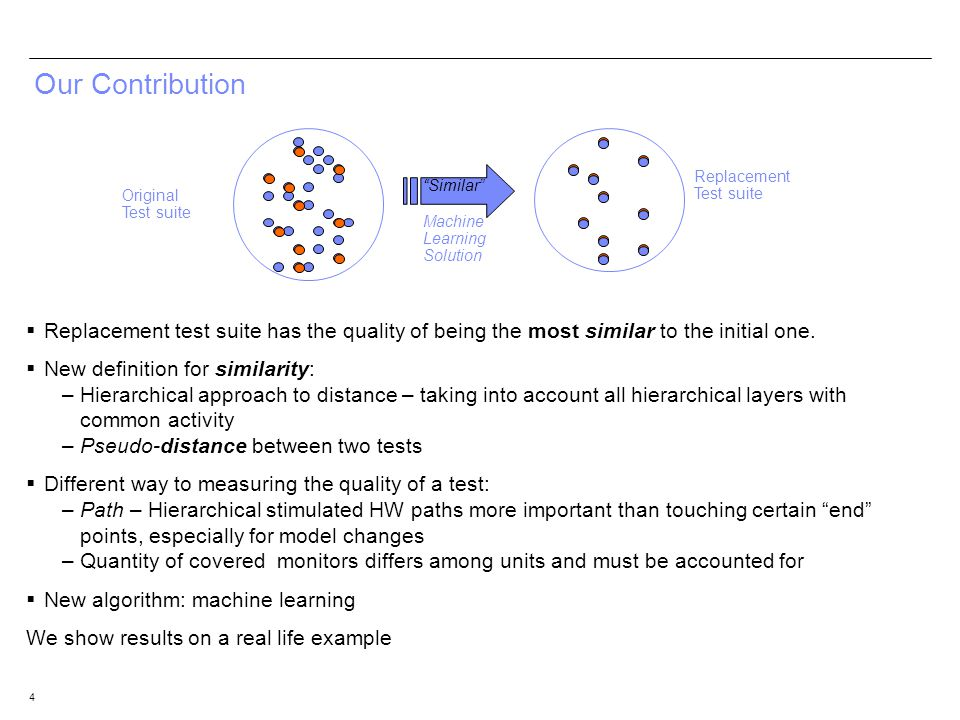 4 Our Contribution Replacement test suite has the quality of being the most similar to the initial one. New definition for similarity: –Hierarchical a