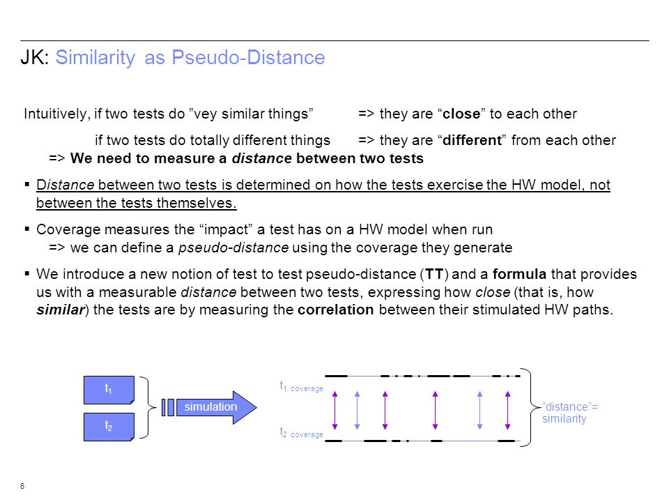 6 JK: Similarity as Pseudo-Distance Intuitively, if two tests do vey similar things => they are close to each other if two tests do totally different