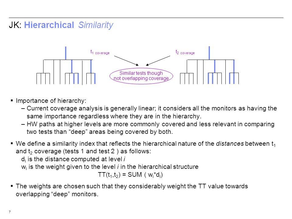 7 JK: Hierarchical Similarity Importance of hierarchy: –Current coverage analysis is generally linear; it considers all the monitors as having the sam