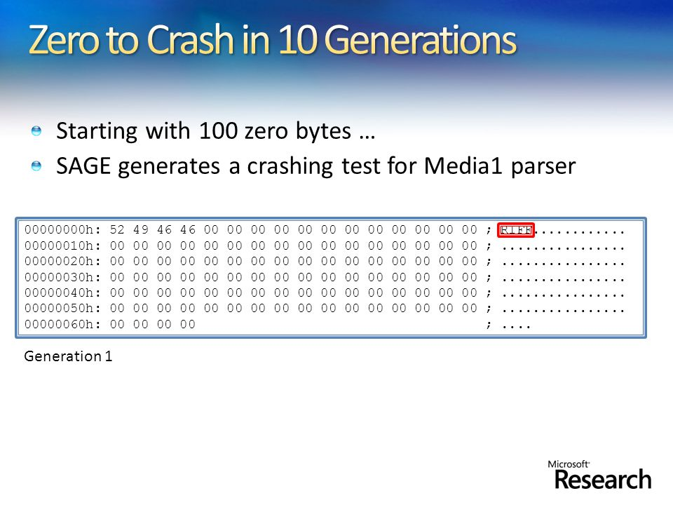 Starting with 100 zero bytes … SAGE generates a crashing test for Media1 parser 00000000h: 52 49 46 46 00 00 00 00 00 00 00 00 00 00 00 00 ; RIFF.....