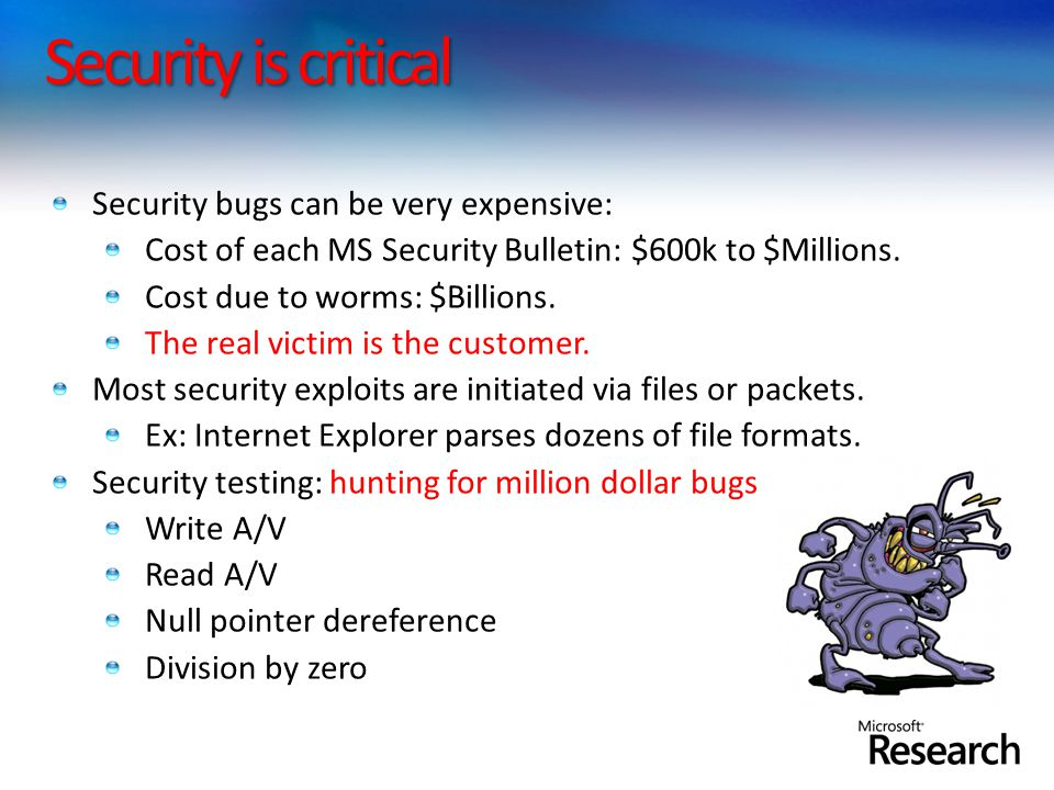 Security is critical Security bugs can be very expensive: Cost of each MS Security Bulletin: $600k to $Millions. Cost due to worms: $Billions. The rea