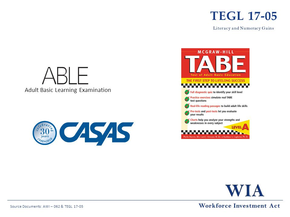 Source Documents: AWI – 062 & TEGL 17-05 TEGL 17-05 Adult Basic Learning Examination