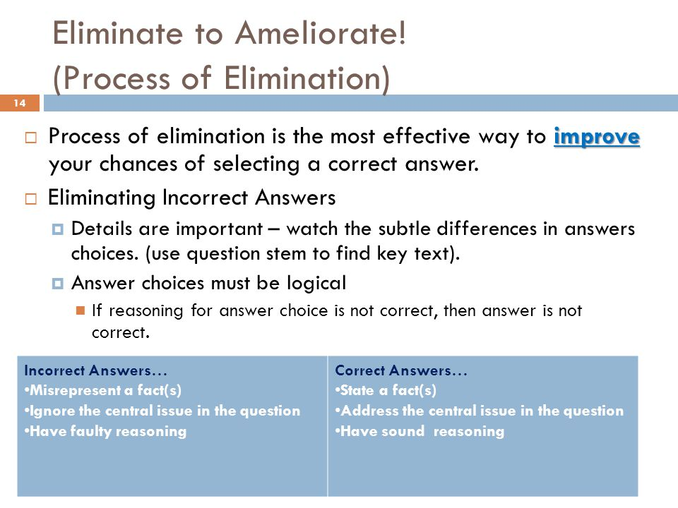 Eliminate to Ameliorate.