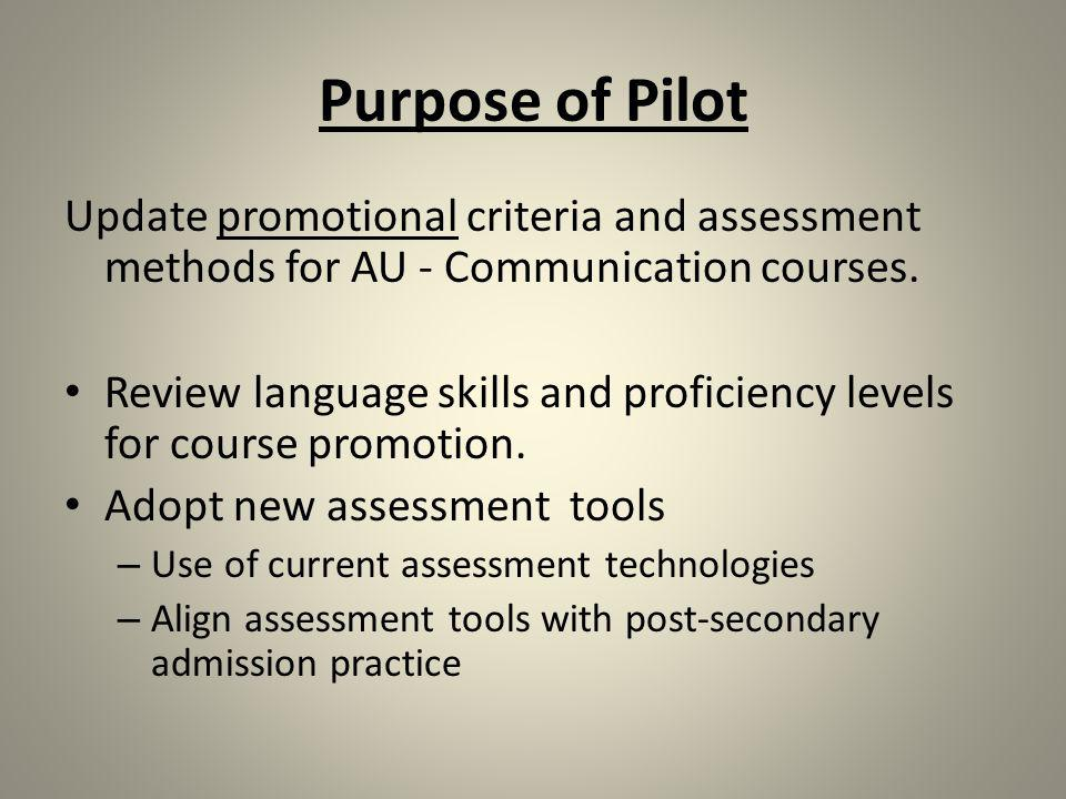 Purpose of Pilot Update promotional criteria and assessment methods for AU - Communication courses.