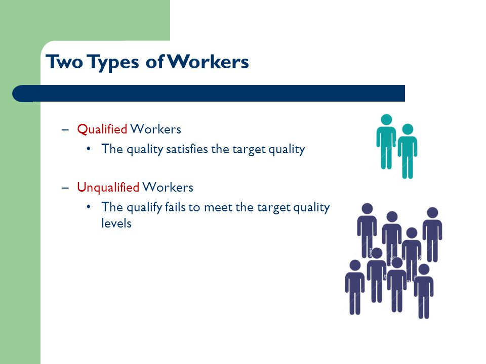 Two Types of Workers Divide workers into two groups –Qualified Workers The quality satisfies the target quality –Unqualified Workers The qualify fails to meet the target quality levels