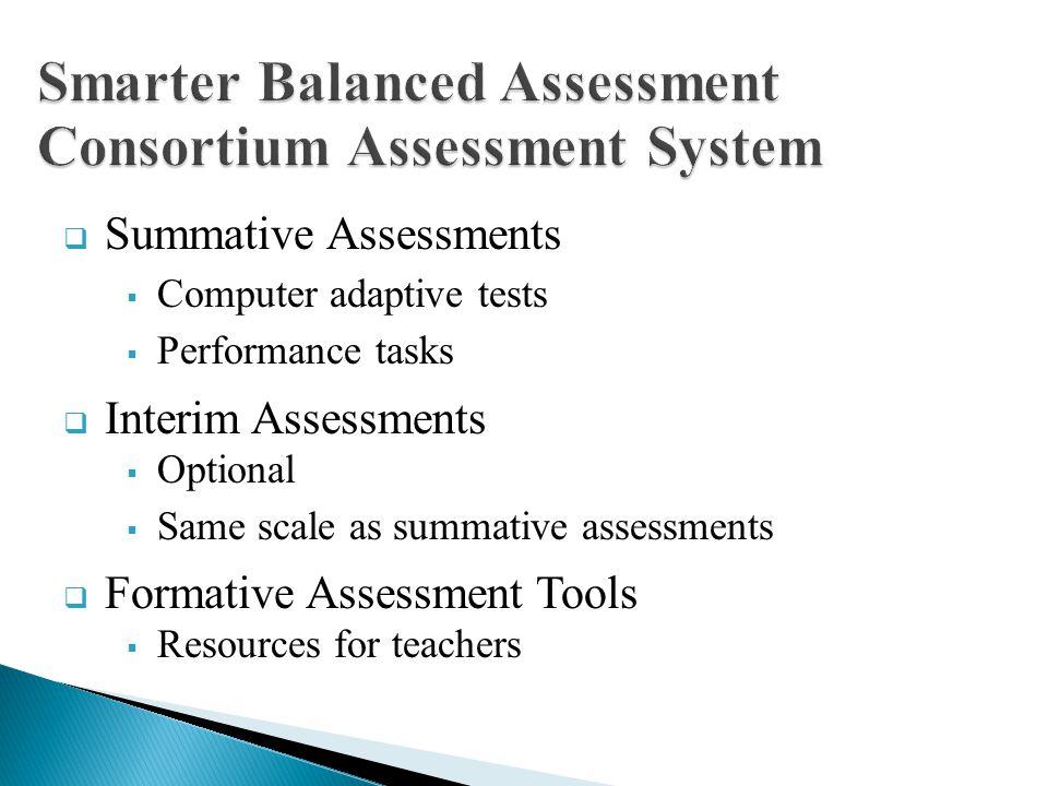Summative Assessments Computer adaptive tests Performance tasks Interim Assessments Optional Same scale as summative assessments Formative Assessment