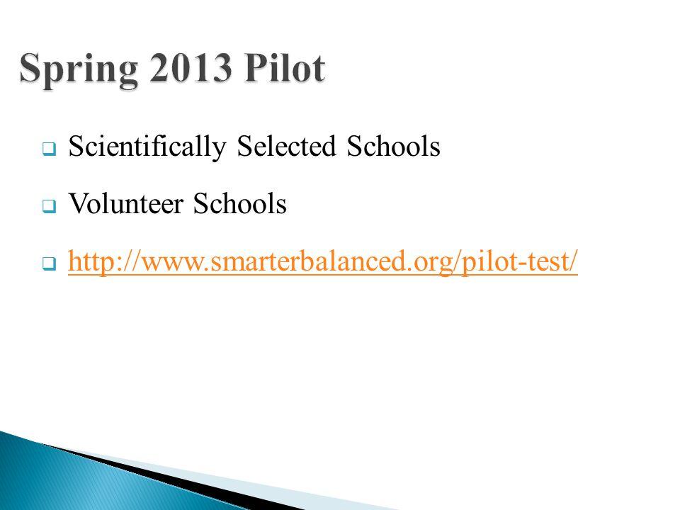 Scientifically Selected Schools Volunteer Schools http://www.smarterbalanced.org/pilot-test/