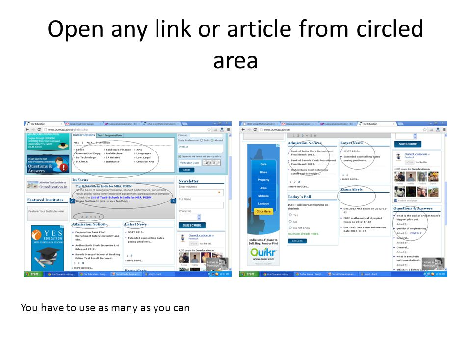 Open any link or article from circled area You have to use as many as you can