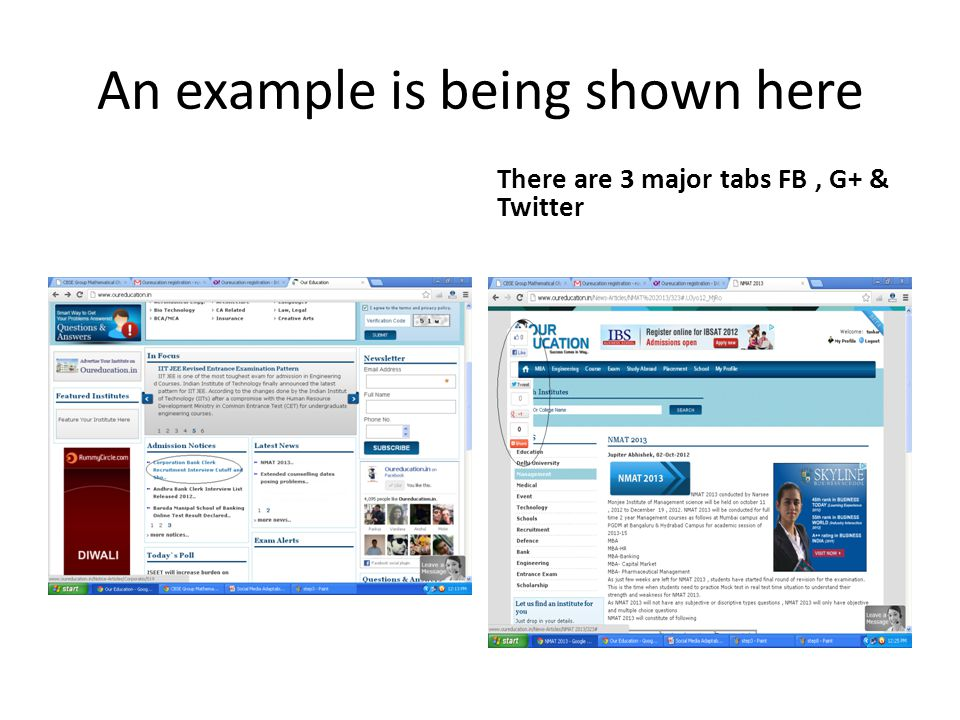 An example is being shown here There are 3 major tabs FB, G+ & Twitter