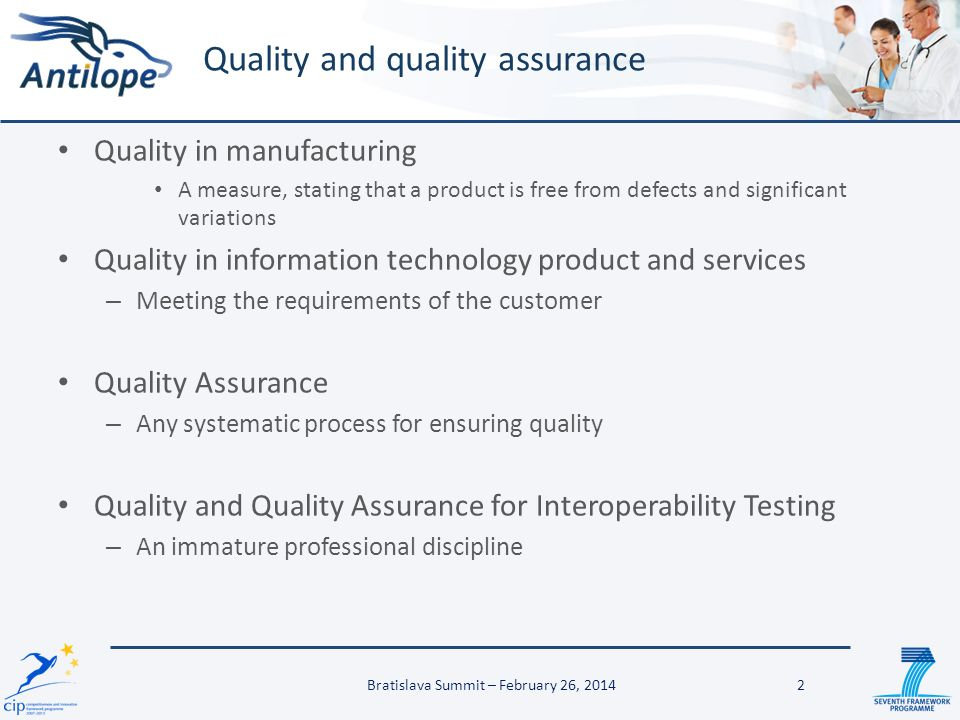 Quality in manufacturing A measure, stating that a product is free from defects and significant variations Quality in information technology product a