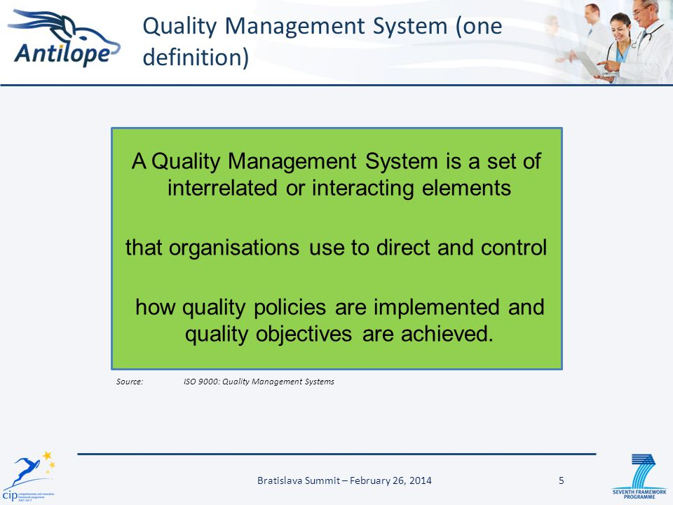 26 Key message #3 A Quality Management System for interoperability testing will facilitate the adoption of International eHealth standards Bratislava Summit – February 26, 2014