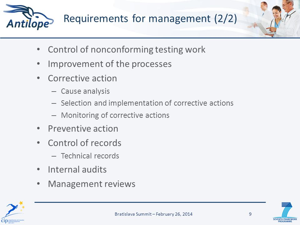 Control of nonconforming testing work Improvement of the processes Corrective action – Cause analysis – Selection and implementation of corrective act