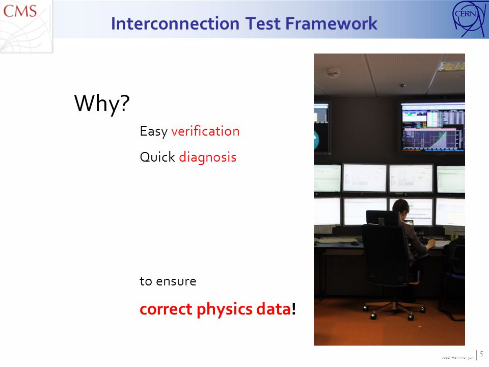 Josef Hammer jun. | 5 Interconnection Test Framework Why? Easy verification Quick diagnosis to ensure correct physics data!