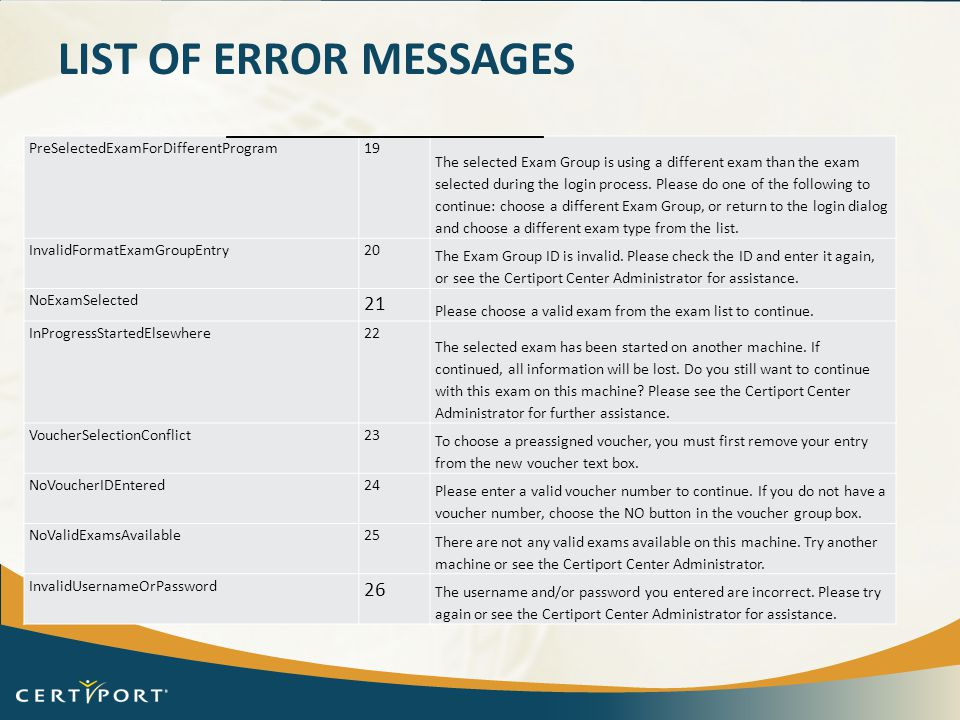 LIST OF ERROR MESSAGES PreSelectedExamForDifferentProgram19 The selected Exam Group is using a different exam than the exam selected during the login