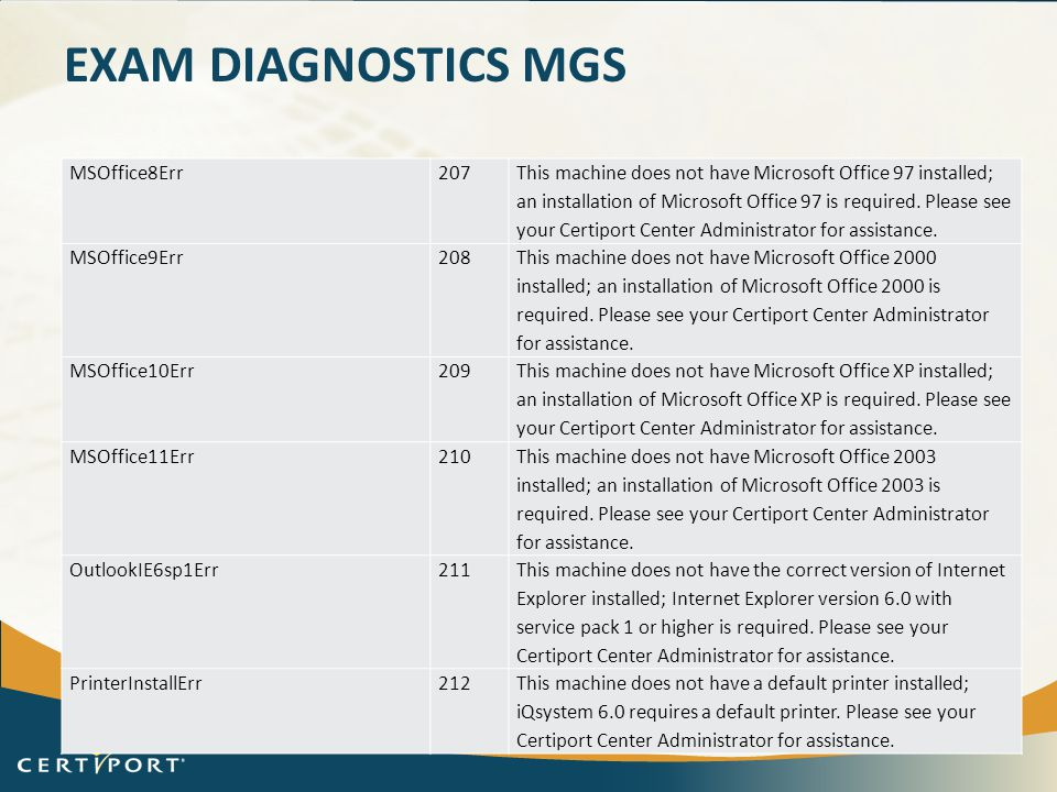 EXAM DIAGNOSTICS MGS MSOffice8Err207 This machine does not have Microsoft Office 97 installed; an installation of Microsoft Office 97 is required. Ple