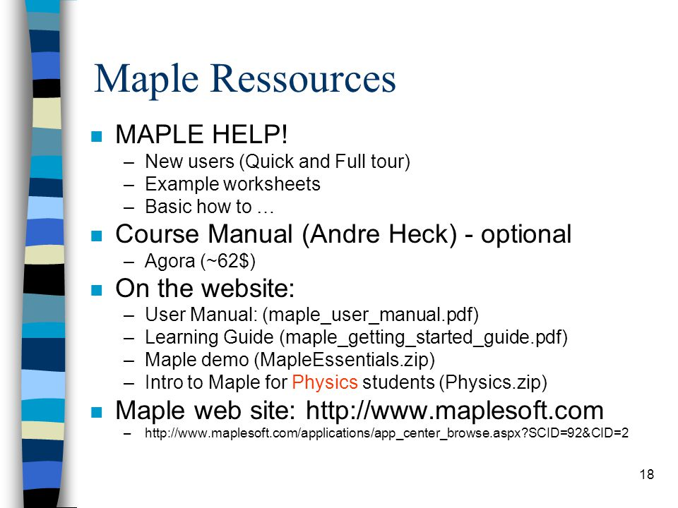 18 Maple Ressources n MAPLE HELP.