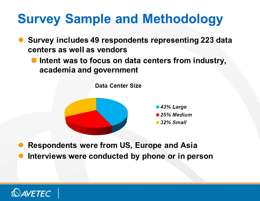 Survey Sample and Methodology Survey includes 49 respondents representing 223 data centers as well as vendors Intent was to focus on data centers from industry, academia and government Respondents were from US, Europe and Asia Interviews were conducted by phone or in person