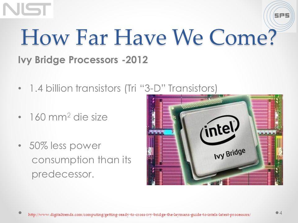 How Far Have We Come? Ivy Bridge Processors -2012 1.4 billion transistors (Tri 3-D Transistors) 160 mm 2 die size 50% less power consumption than its