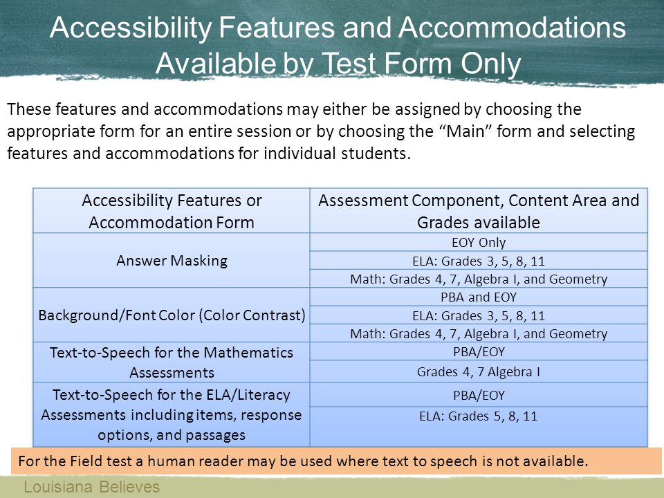 Accessibility Features and Accommodations Available by Test Form Only Louisiana Believes These features and accommodations may either be assigned by c
