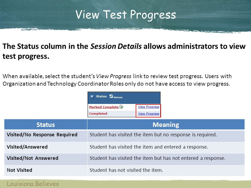 View Test Progress When available, select the students View Progress link to review test progress. Users with Organization and Technology Coordinator