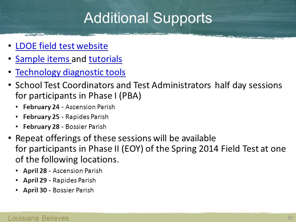 Additional Supports Louisiana Believes 80 LDOE field test website Sample items and tutorials Sample items tutorials Technology diagnostic tools School
