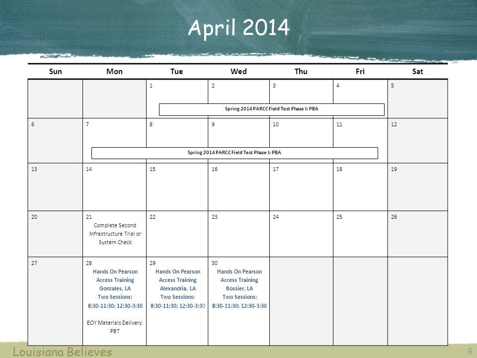 May 2014 10 Louisiana Believes SunMonTueWedThuFriSat 1 23 45678910 1112131415 16 17 18192021222324 25262728293031 Spring 2014 PARCC Field Test Phase II: EOY