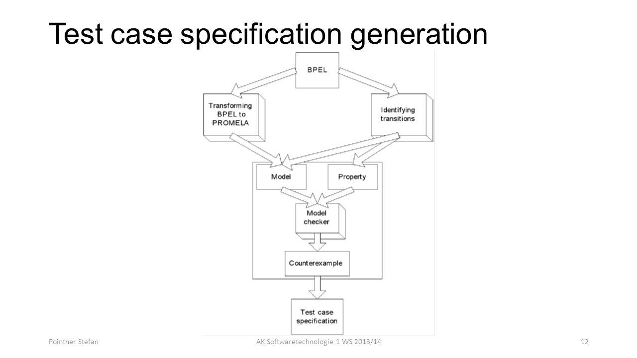 Test case specification generation Pointner StefanAK Softwaretechnologie 1 WS 2013/1412