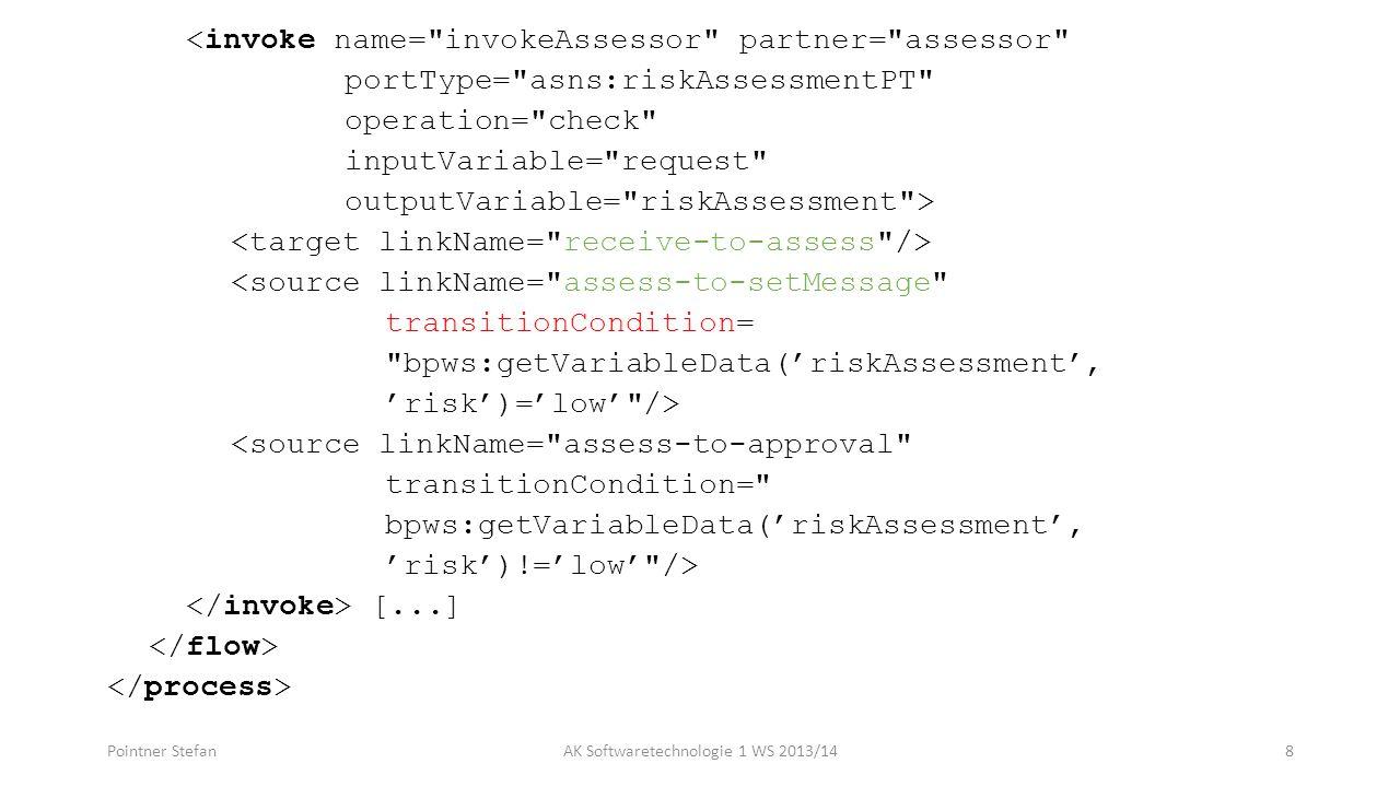 <invoke name= invokeAssessor partner= assessor portType= asns:riskAssessmentPT operation= check inputVariable= request outputVariable= riskAssessment > <source linkName= assess-to-setMessage transitionCondition= bpws:getVariableData(riskAssessment, risk)=low /> <source linkName= assess-to-approval transitionCondition= bpws:getVariableData(riskAssessment, risk)!=low /> [...] Pointner StefanAK Softwaretechnologie 1 WS 2013/148