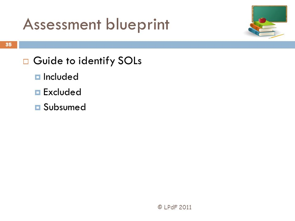 Assessment blueprint © LPdF 2011 35 Guide to identify SOLs Included Excluded Subsumed