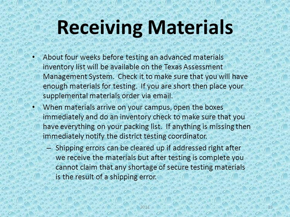 Secure Storage of Testing Materials Secure testing materials must be kept under lock and key in a secure location.