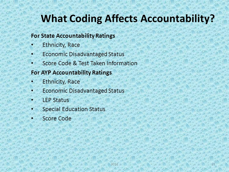 What Coding Affects Accountability? For State Accountability Ratings Ethnicity, Race Economic Disadvantaged Status Score Code & Test Taken Information