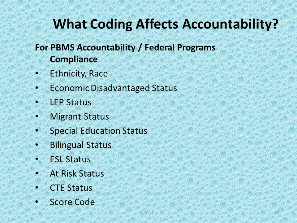 What Coding Affects Accountability? For PBMS Accountability / Federal Programs Compliance Ethnicity, Race Economic Disadvantaged Status LEP Status Mig