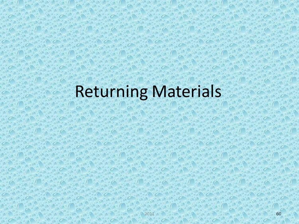 Returning Materials 201160