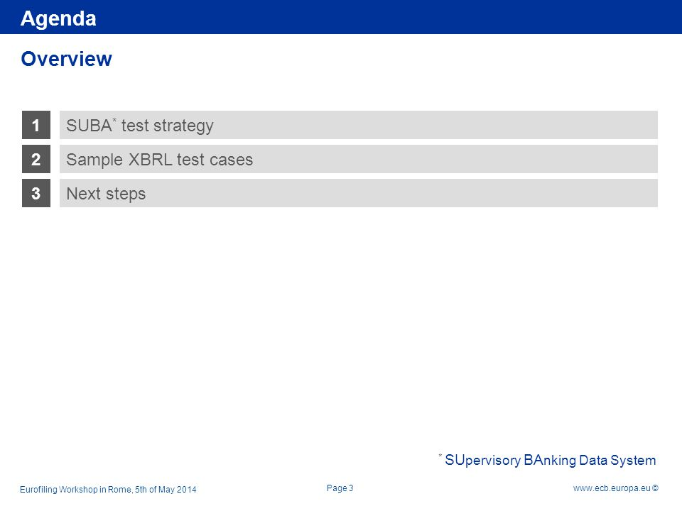 Rubric www.ecb.europa.eu © 1 2 3 Sample XBRL test cases Next steps SUBA Test Strategy Overview Page 4 Agenda Eurofiling Workshop in Rome, 5th of May 2014