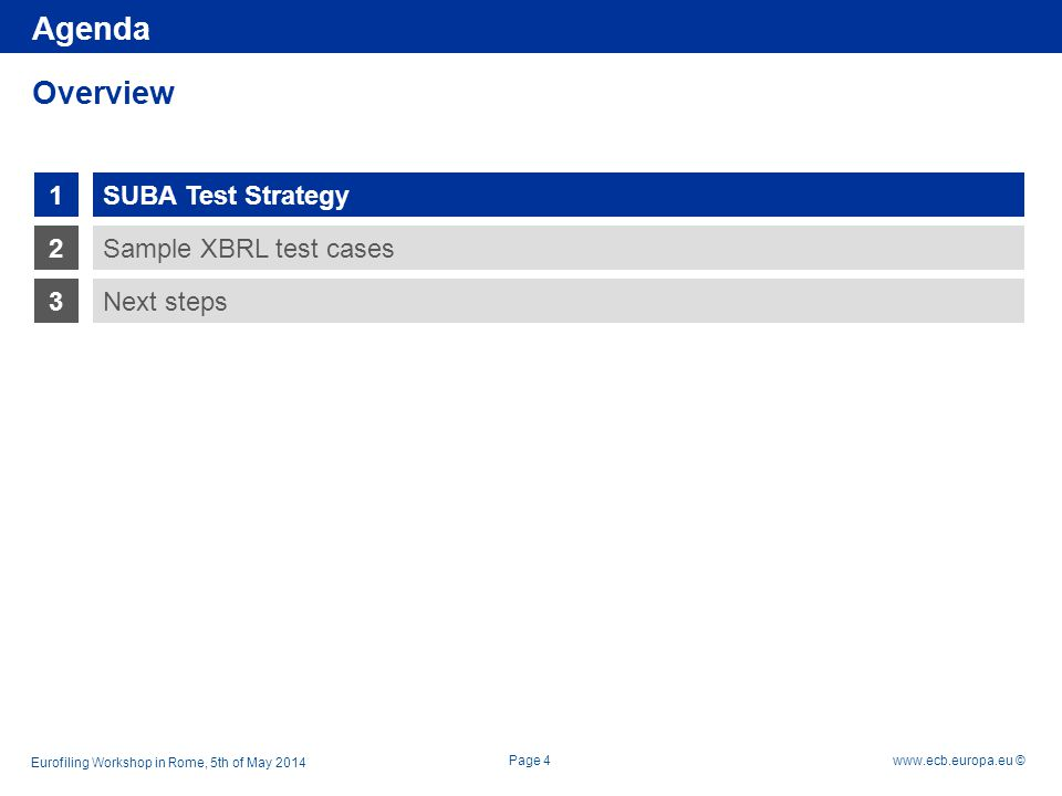 Rubric www.ecb.europa.eu © 1 2 3 Sample XBRL test cases Next steps SUBA Test Strategy Overview Page 4 Agenda Eurofiling Workshop in Rome, 5th of May 2