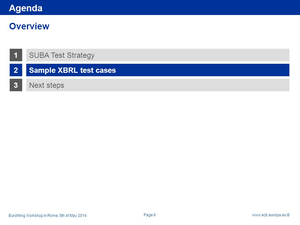 Rubric www.ecb.europa.eu © 1 2 3 Sample XBRL test cases Next steps SUBA Test Strategy Overview Page 9 Agenda Eurofiling Workshop in Rome, 5th of May 2
