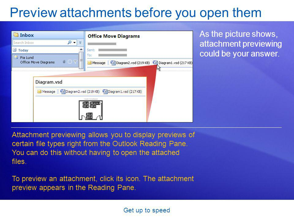 Get up to speed Preview attachments before you open them As the picture shows, attachment previewing could be your answer.
