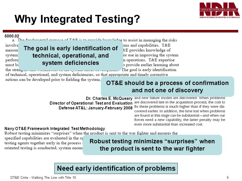 DT&E Cmte - Walking The Line with Title 10 6 Why Integrated Testing.