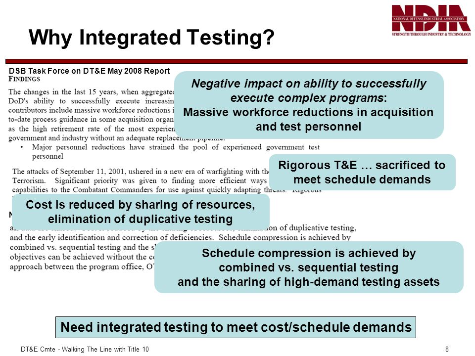 DT&E Cmte - Walking The Line with Title 10 8 Why Integrated Testing.