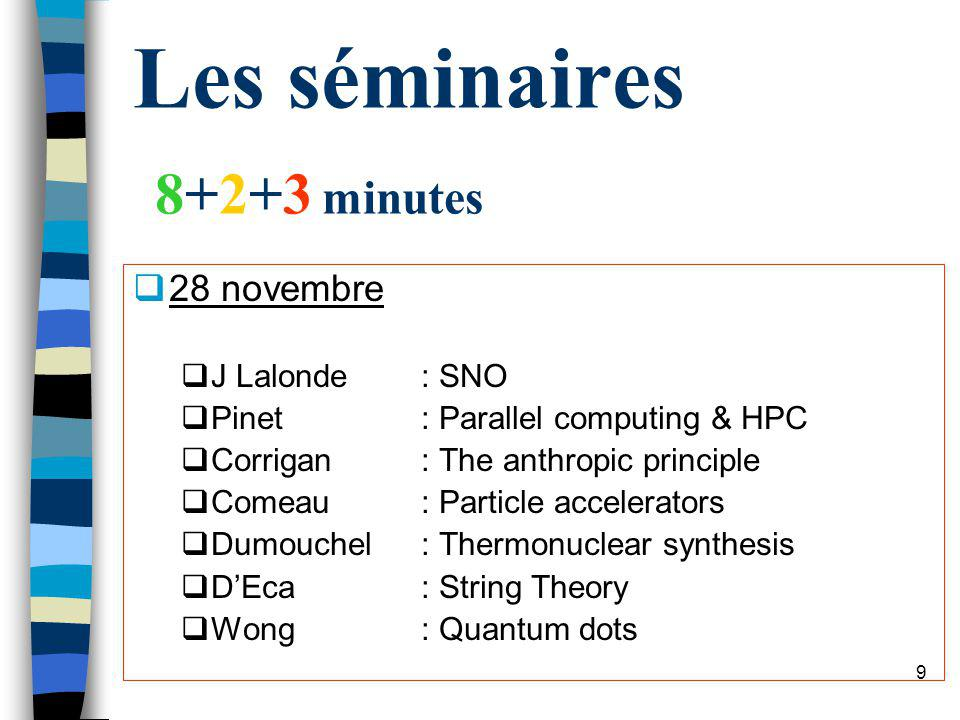 8 Les séminaires 8+2+3 minutes 21 novembre Stone: Fractals Kamran: Cosmologie M Lalonde: Sonoluminescence Meunier: Matérialisme scientifique OByrne: Superfluidity Vachon: Astronomie expérimentale Miranda: Quantum Cryptography
