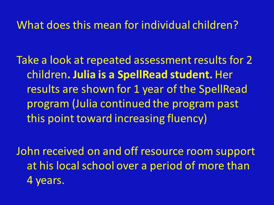 What does this mean for individual children? Take a look at repeated assessment results for 2 children. Julia is a SpellRead student. Her results are