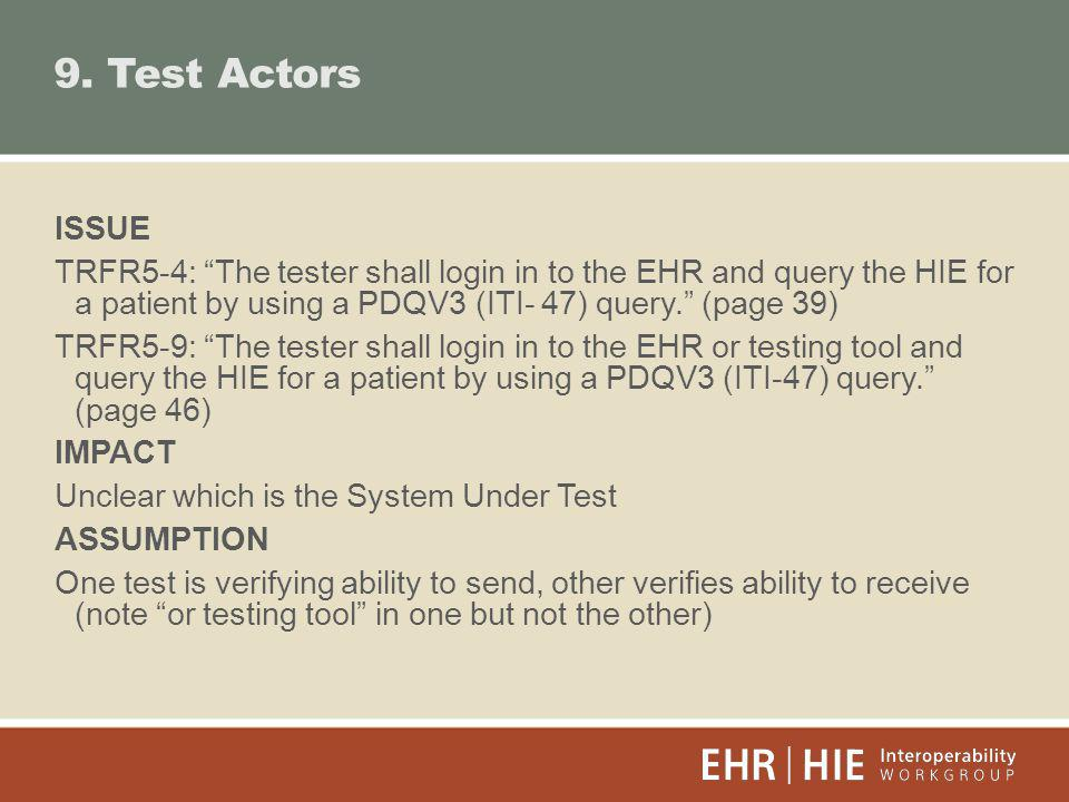 9. Test Actors ISSUE TRFR5-4: The tester shall login in to the EHR and query the HIE for a patient by using a PDQV3 (ITI- 47) query. (page 39) TRFR5-9