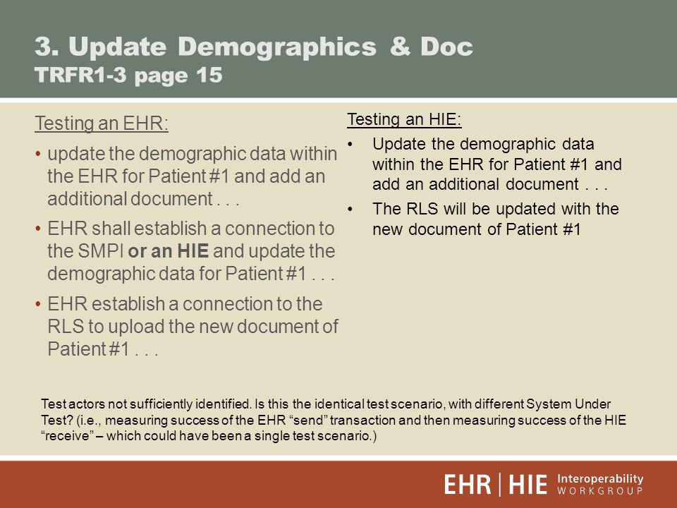 3. Update Demographics & Doc TRFR1-3 page 15 Testing an EHR: update the demographic data within the EHR for Patient #1 and add an additional document.