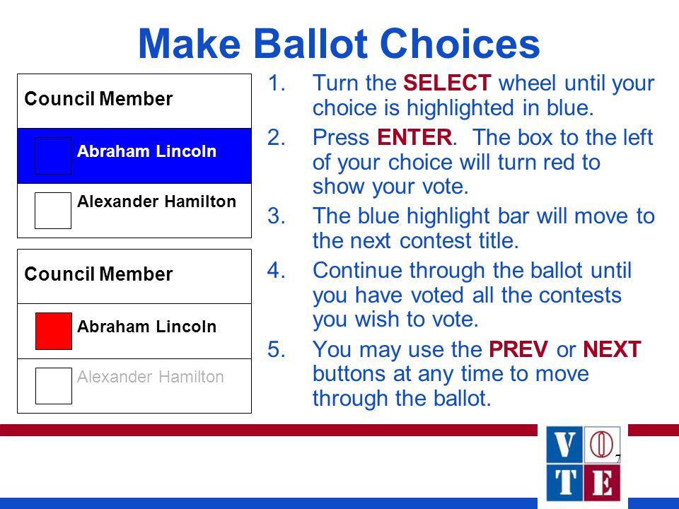 7 Make Ballot Choices Alexander Hamilton Abraham Lincoln Council Member Alexander Hamilton Abraham Lincoln Council Member 1.Turn the SELECT wheel unti