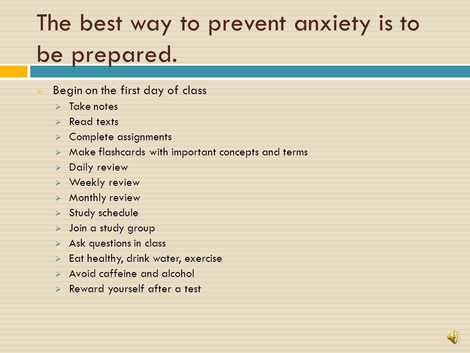 How do you try to decrease anxiety Do they work