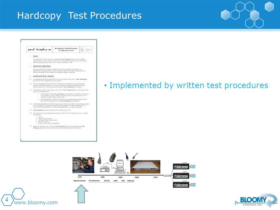 4 Implemented by written test procedures Hardcopy Test Procedures
