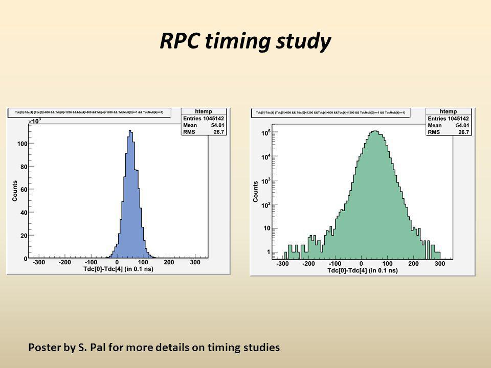 RPC timing study Poster by S. Pal for more details on timing studies