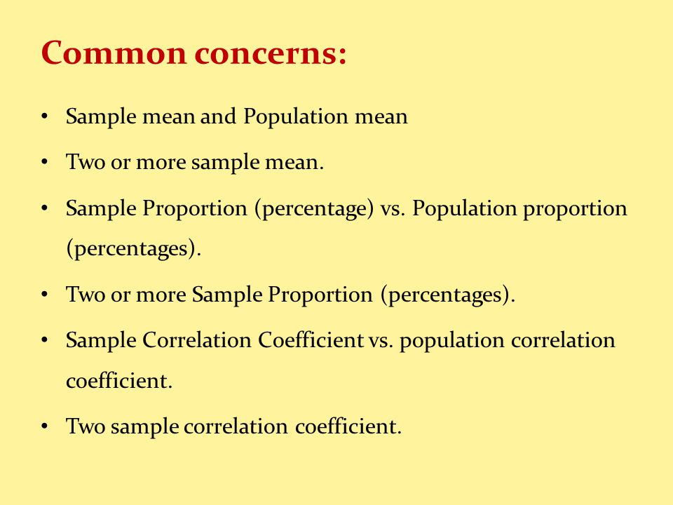 Common concerns: Sample mean and Population mean Two or more sample mean.