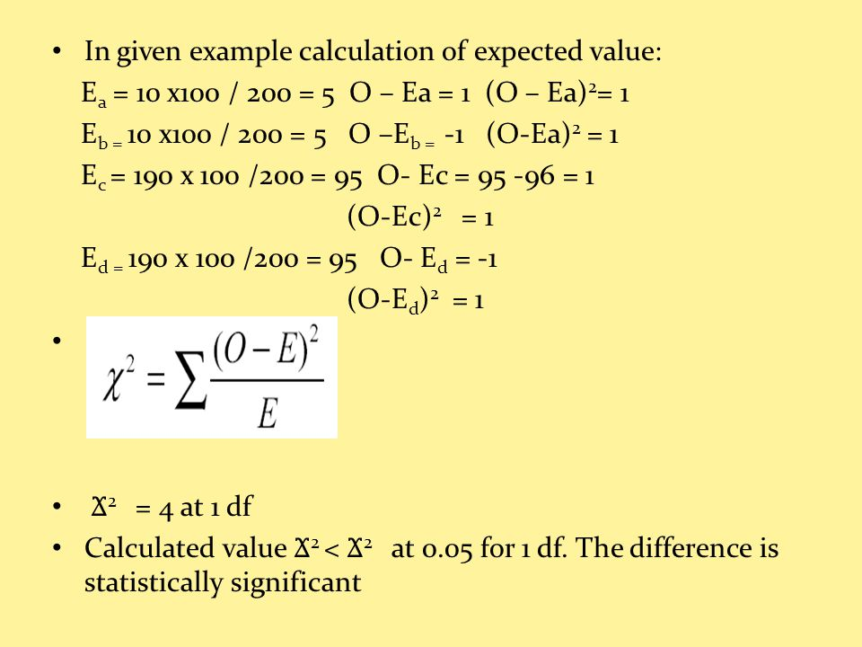 In given example calculation of expected value: E a = 10 x100 / 200 = 5 O – Ea = 1 (O – Ea) 2 = 1 E b = 10 x100 / 200 = 5 O –E b = -1 (O-Ea) 2 = 1 E c = 190 x 100 /200 = 95 O- Ec = 95 -96 = 1 (O-Ec) 2 = 1 E d = 190 x 100 /200 = 95 O- E d = -1 (O-E d ) 2 = 1 Ϫ 2 = 4 at 1 df Calculated value Ϫ 2 < Ϫ 2 at 0.05 for 1 df.